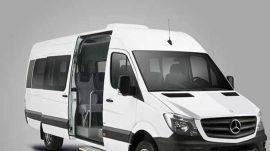 The capacity of this vehicle is 1-14 people..In this vehicle option, we have free water-Music- Baby Seat -Booster services